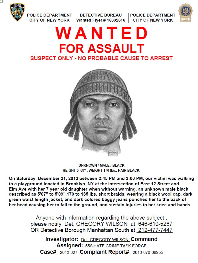 NYPD Looking For Suspect Wanted In Assault In Flatbush Yeshiva – Wanted Person Poster
