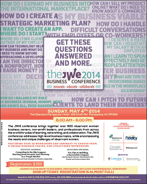 Over 600 Women to Attend The  Jewish Women Entrepreneur (JWE) Second Annual Business Conference