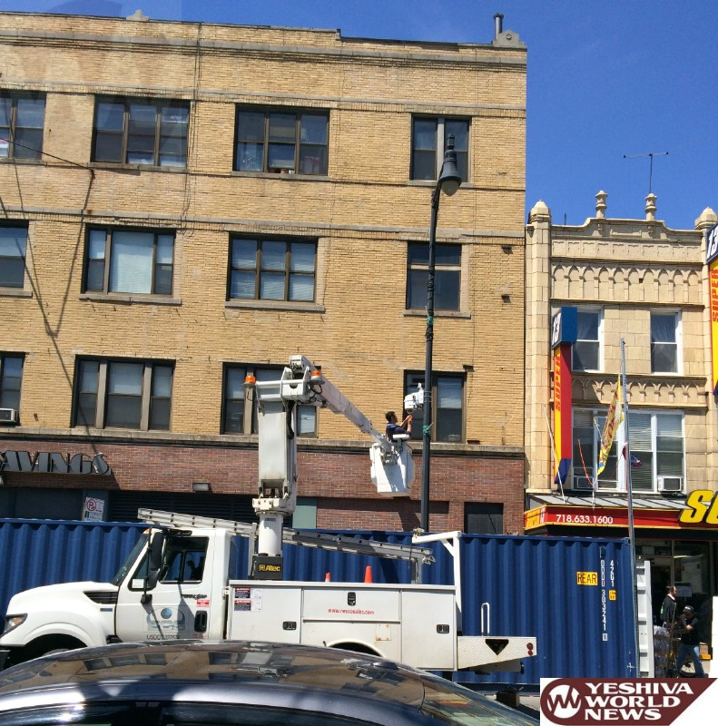 PHOTO: Installing The Security Cameras in Memory Of Leiby Kletzky Today In Boro Park (Photo Credit: JDN)