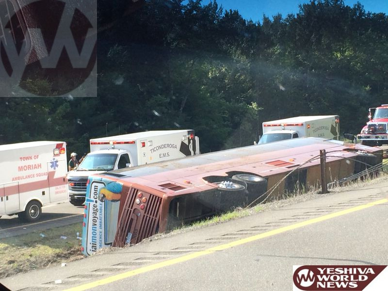 PHOTOS: Commercial Bus Rollover On I-87 In Essex County, Upstate NY [Friday 10:30AM]