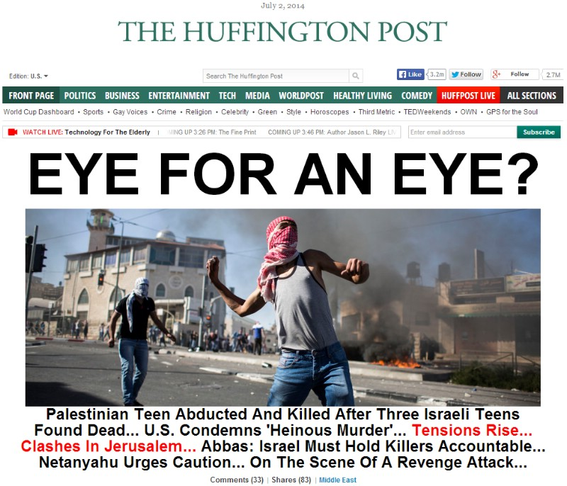 BLOOD LIBEL 2014: Mainstream Media Jumps to Conclusions About Dead Palestinian Teen