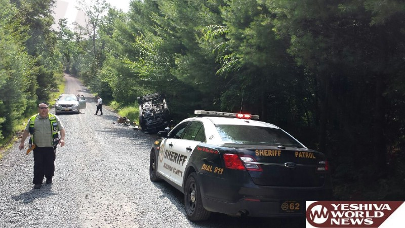 PHOTOS: Overturned Vehicle On River Road In South Fallsburg