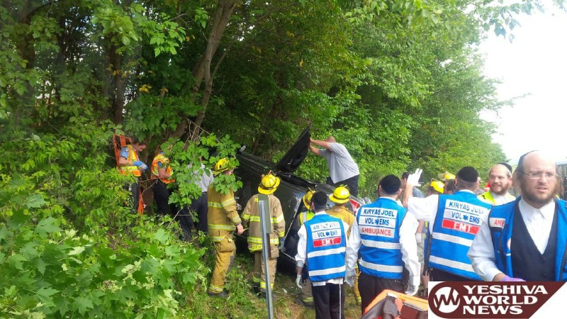 PHOTOS: Chopper Lands On Route 17 Near Kiryas Yoel To Airlift Victim In Overturned Vehicle