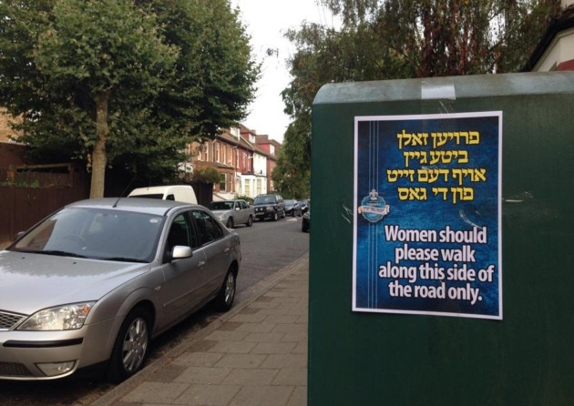 London: Stamford Hill Posters Telling Women What Side Of The Road To Walk On Are Removed