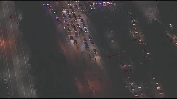 Protesters Halt Freeway Traffic On Interstate 580 In California