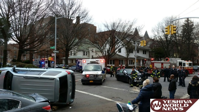 BREAKING PHOTOS: Overturned Vehicle In Flatbush On Ave K And E 19 - No Serious Injuries (Photos By Photodynamics / Hillel Engel)