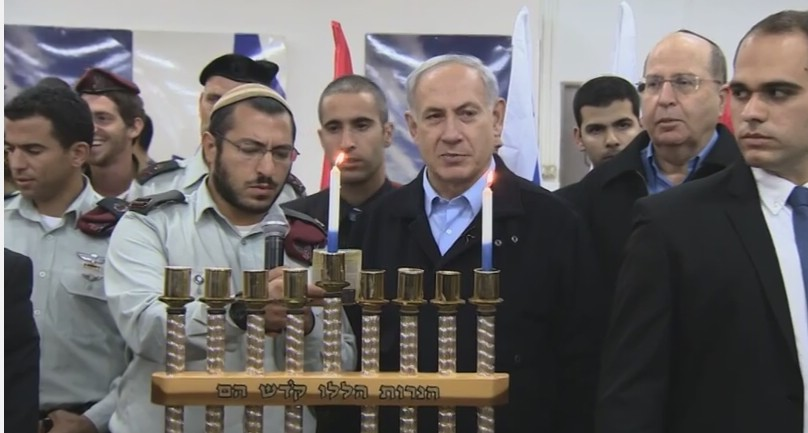 PM Netanyahu Lights First Chanukah Candle with IDF Soldiers