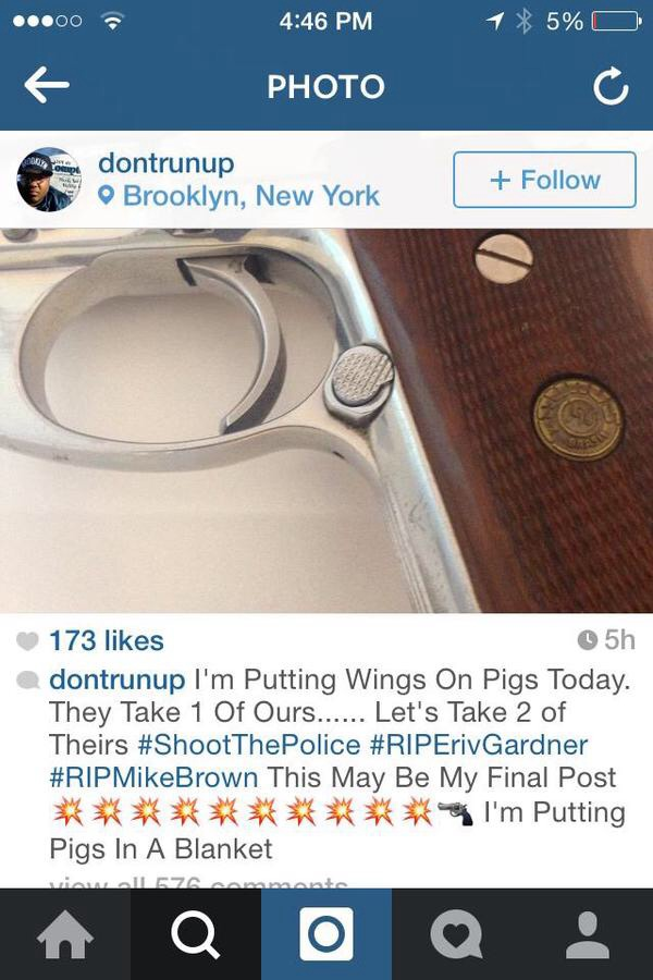 Last Instagram Post Of Suspect Who Executed To NYPD Officers