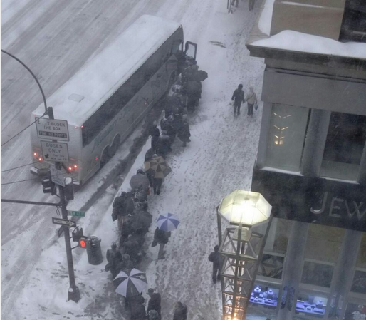 BREAKING PHOTO: People Waiting to Get Onto the Monsey Bus at 47th St. Ahead of Blizzard 2015