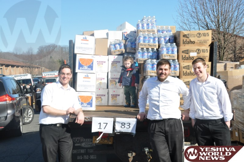 PHOTOS: Monsey Tomche Shabbos Anonymously Distributes Food To Almost 1000 Families For Pesach