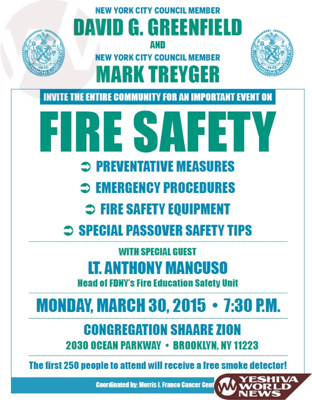 Brooklyn: Greenfield and Treyger Host Fire Safety Event on Monday Night In Shaarei Zion