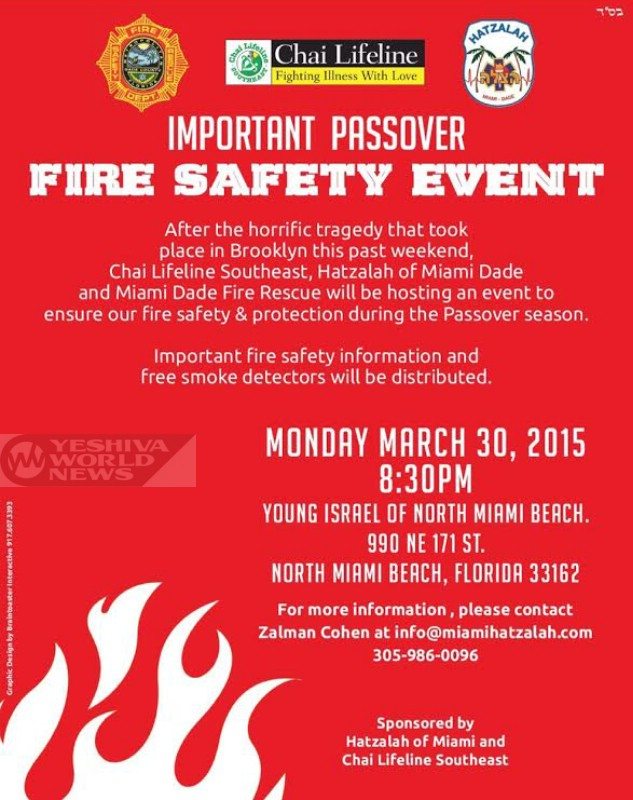 Hatzalah of Miami Dade And Chai Lifeline Hosting Fire Safety Event Along Miami Dade Fire Rescue