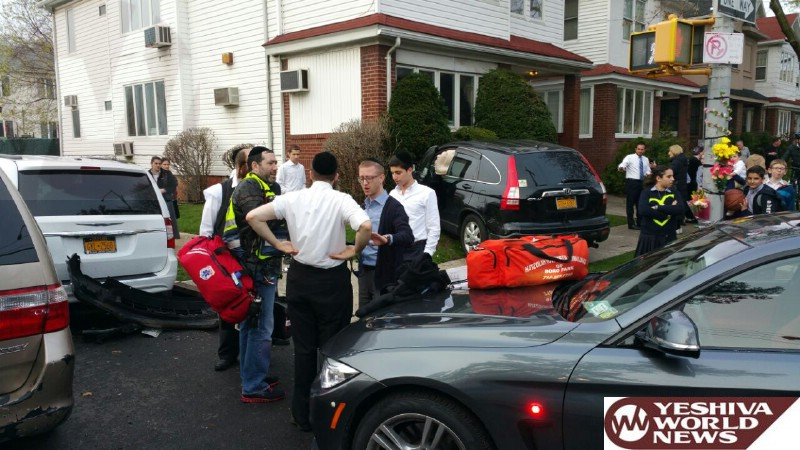 PHOTOS: Vehicle Slams Into House On Ave N And E 8 St In Flatbush Mon. Afternoon; 2 People Inj In Stable Condition (Photos By Hillel Engel)