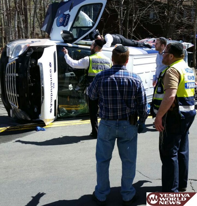 PHOTOS: Ambulance Overturns In Monsey On College Road [UPDATED]