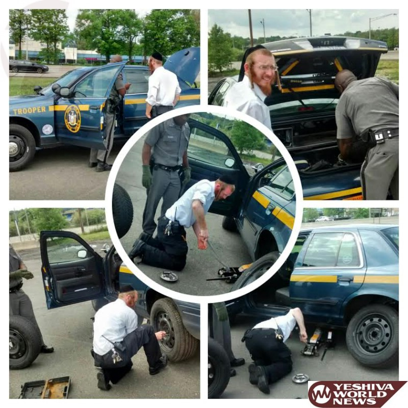 KIDDUSH HASHEM: Chaverim of Rockland Member Saw NY State Trooper With Flat Tire And Stopped To Change It For Him