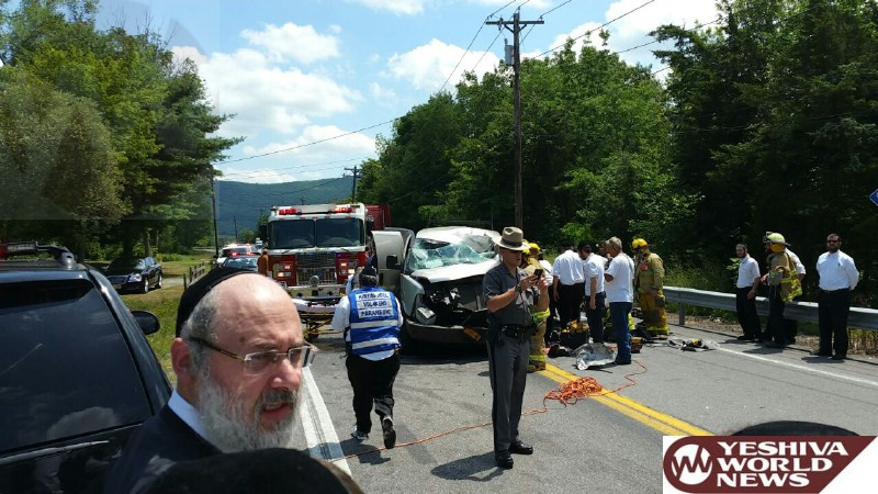 BREAKING PHOTOS: Serious Crash Outside Kiryas Joel, Victim Heavily Entrapped, Medevac Requested [1:10PM]