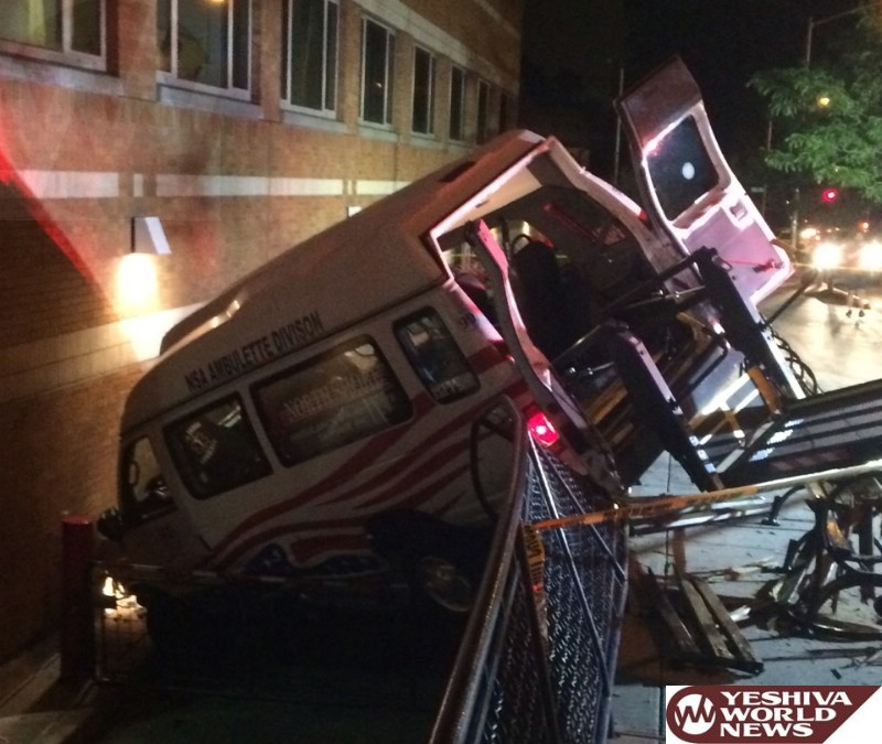 PHOTOS: Ambulette Crashes At NY Booth Memorial Hospital In Queens On Thursday Night - Two Injured