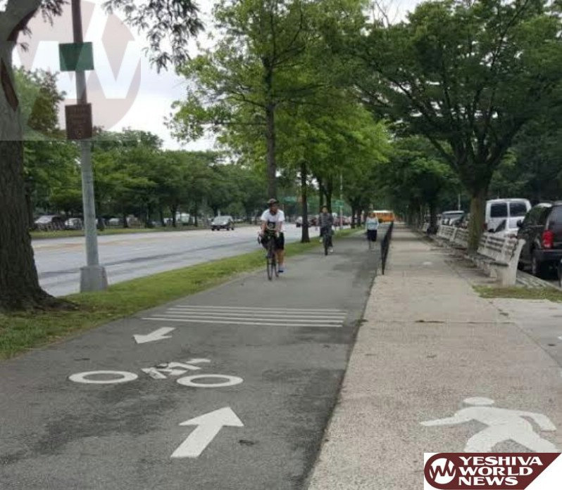 Hikind Cautions Pedestrians and Bicyclists on Road Safety on Ocean Parkway Malls