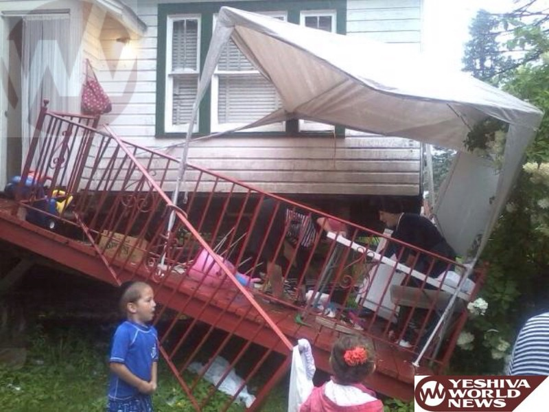 PHOTO: Porch Collapsed At Ichud Bungalow Colony On Route 42 In Monticello Thursday Afternoon - No Injuries