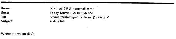 Hillary Clinton's Email Show She Was Quite Concerned About 'Gefilte Fish'