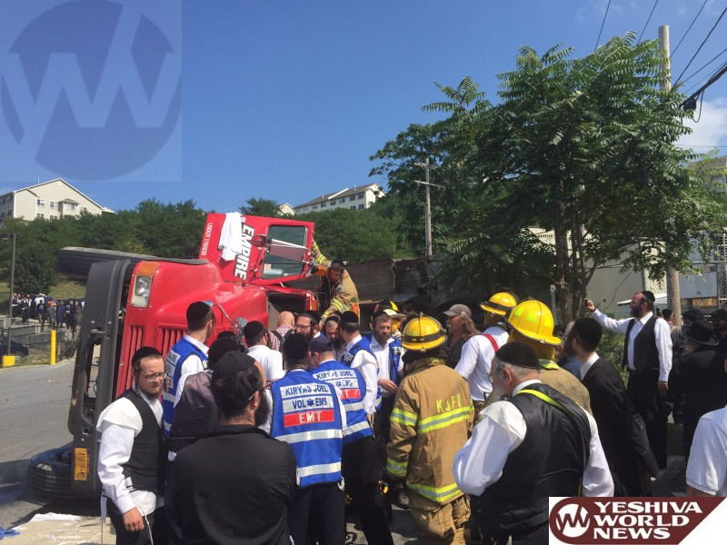 PHOTOS: Truck Overturns In Kiryas Joel On Bakertown Road And Dinev Court - 1 Person Extricated And Transported By Hatzolah In Stable Condition