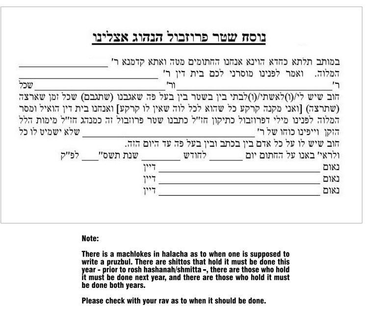 Pruzbul - Ask The Rabbi