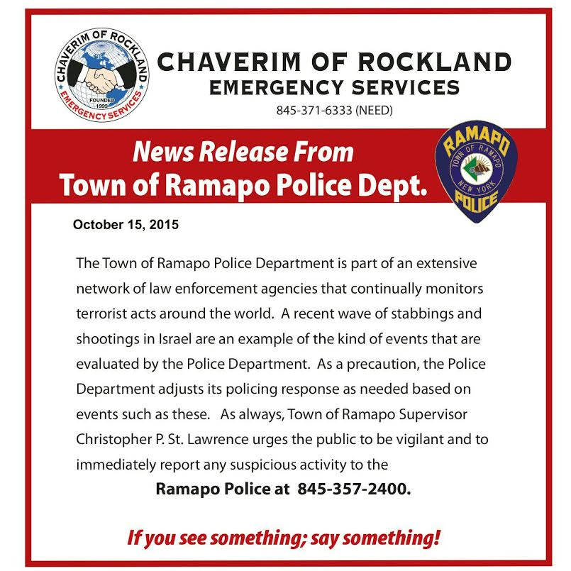 Ramapo Police Releases Statement To Jewish Community In Light Of Terror Attacks In Israel