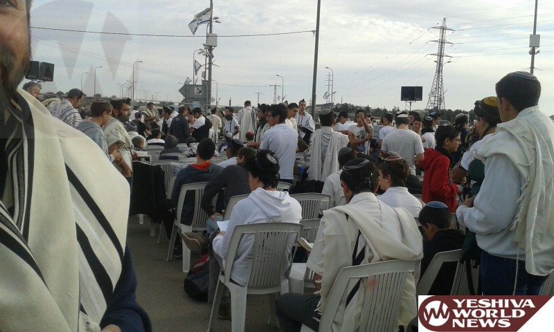 PHOTOS: Shachris at Gush Junction in Memory of Terror Victim Yaakov Don HY'D