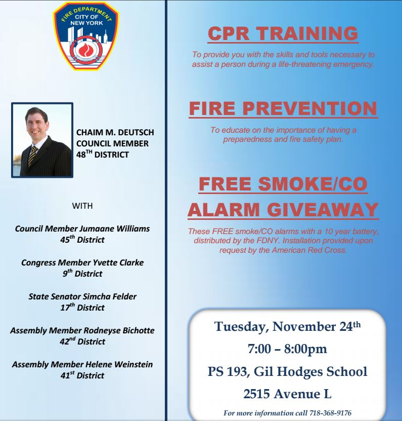 Councilman Deutsch Hosts CPR Training And Smoke Alarm Giveaway