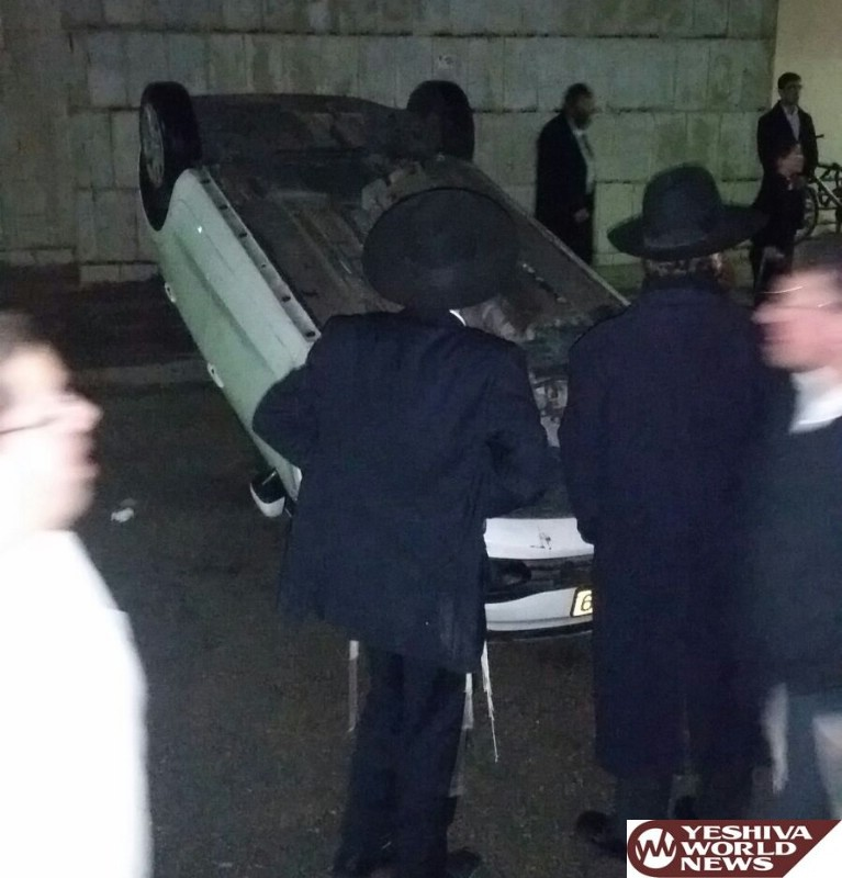 PHOTOS: Charedim Overtun Police Vehicle In Ashdod as they Seek to Arrest a Yeshiva Bochur Who is Absent from IDF Service