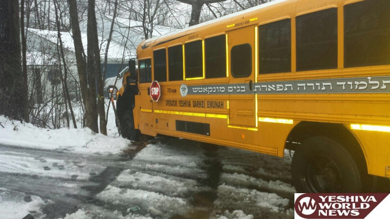 PHOTOS: Slick Roads In Monsey Cause Munkatch Cheder Bus To Slam Into Tree; No Children Were On The Bus
