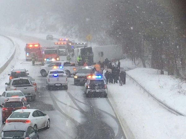 Dozens Hurt, At Least 6 Critical When Charter Bus Overturns On I-95 In Snowstorm