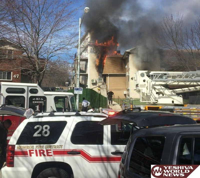 VIDEO AND PHOTOS: Working Structure Fire In Kiryas Joel Building With Apartments And Shul - Sifrei Torah Saved