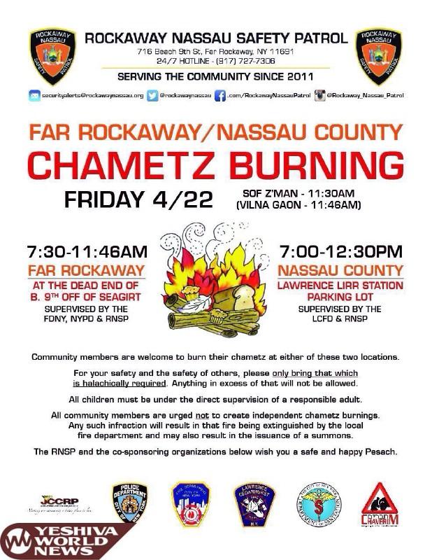 Far Rockaway / Five Towns Chometz Burning Locations
