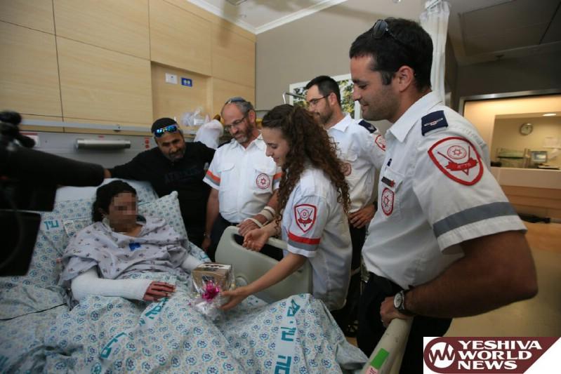 צוות מדא שטיפל ופינה את עדן מהפיגוע בירושלים לבית חולים מעניק לה מחשב - צילום דוברות מדא 25.5.16 (2)