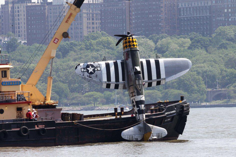 WWII Plane Pulled From Hudson After Crash That Killed Pilot