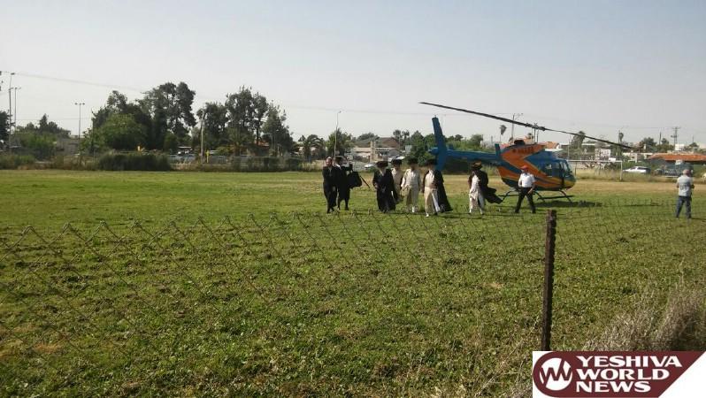 Photo Essay: The Toldos Aharon Rebbe Arriving To Meron From Yerushalayim Via Chopper