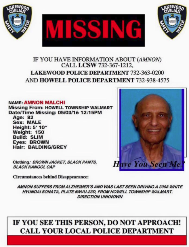Search For Missing Lakewood Man With Alzheimer's Shifts To Edison, NJ
