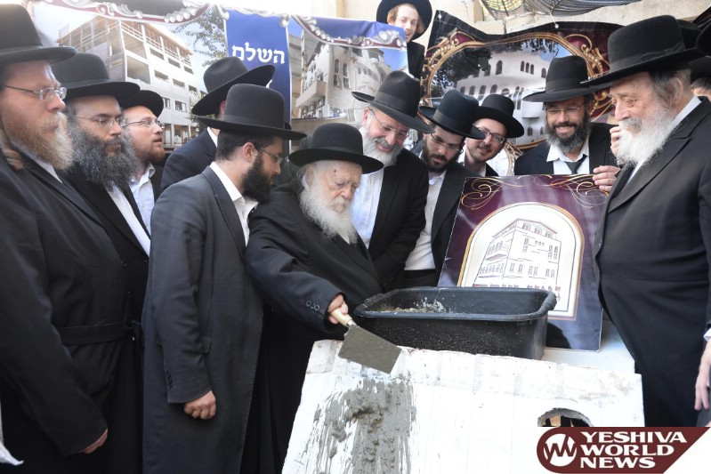 Photo Essay: Hagaon Harav Chaim Kanievsky Shlita At The Even Hapinah For Yeshivas Goan Yakov In Bnei Brak (Photos by JDN)