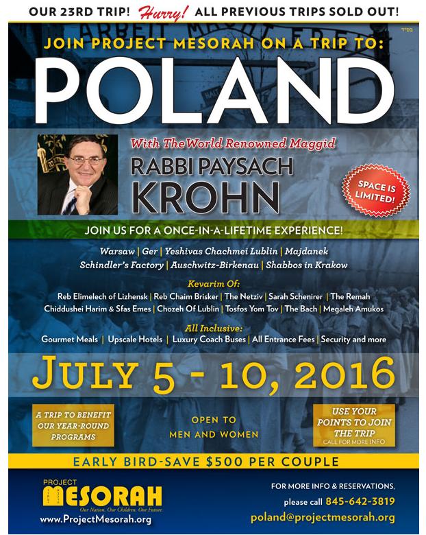 Few Spots Remain On Legendary Summer Poland Trip With The Maggid Rabbi Pesach Krohn