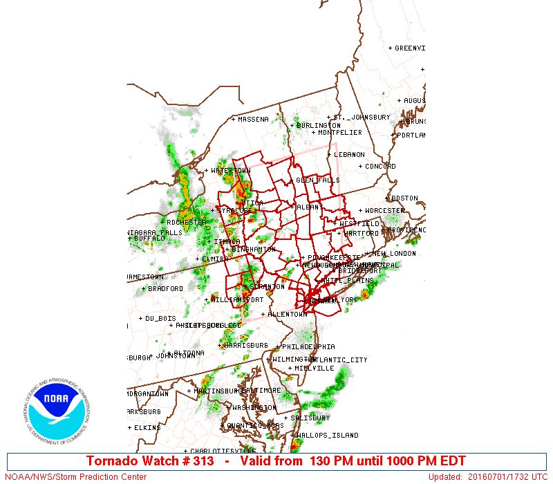 JUST IN: Tornado Watch In Effect For NYC, Northeast NJ, Western Long Island Until 10:00PM