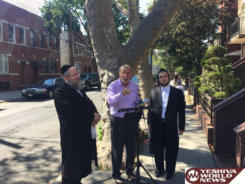 Hikind Visits with Homeowners to Address Notice of Violations for Damaged Sidewalks Caused by Trees
