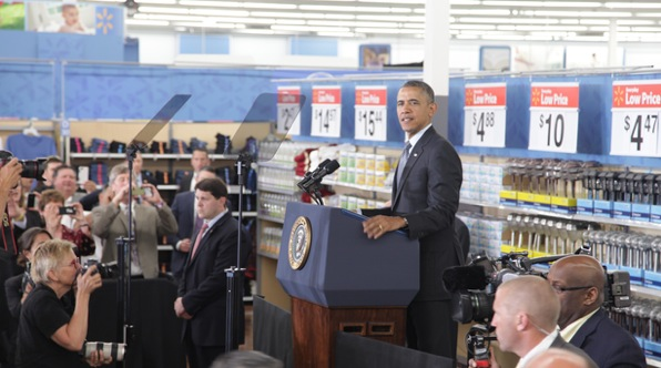Obama Finds An Ally In Wal-Mart, Whose Stores He Once Shunned