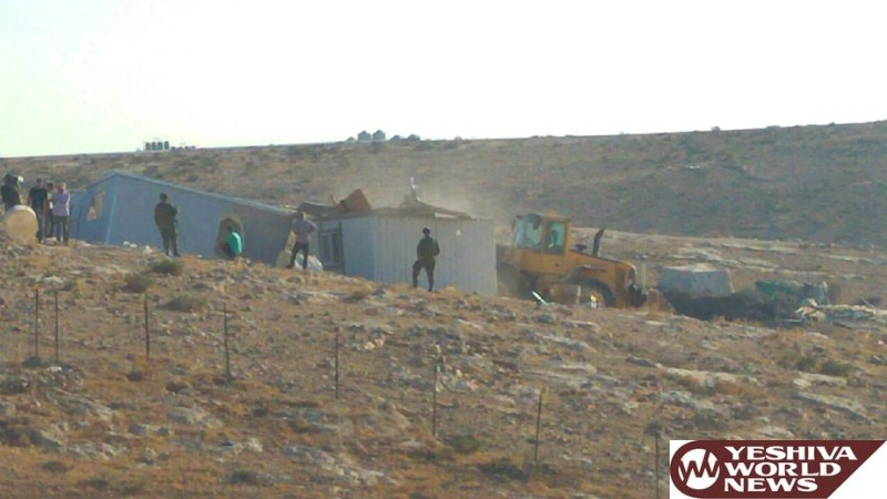 PHOTOS: Civil Administration Removes Illegal Bedouin Structures From Southern Hebron Hills Area