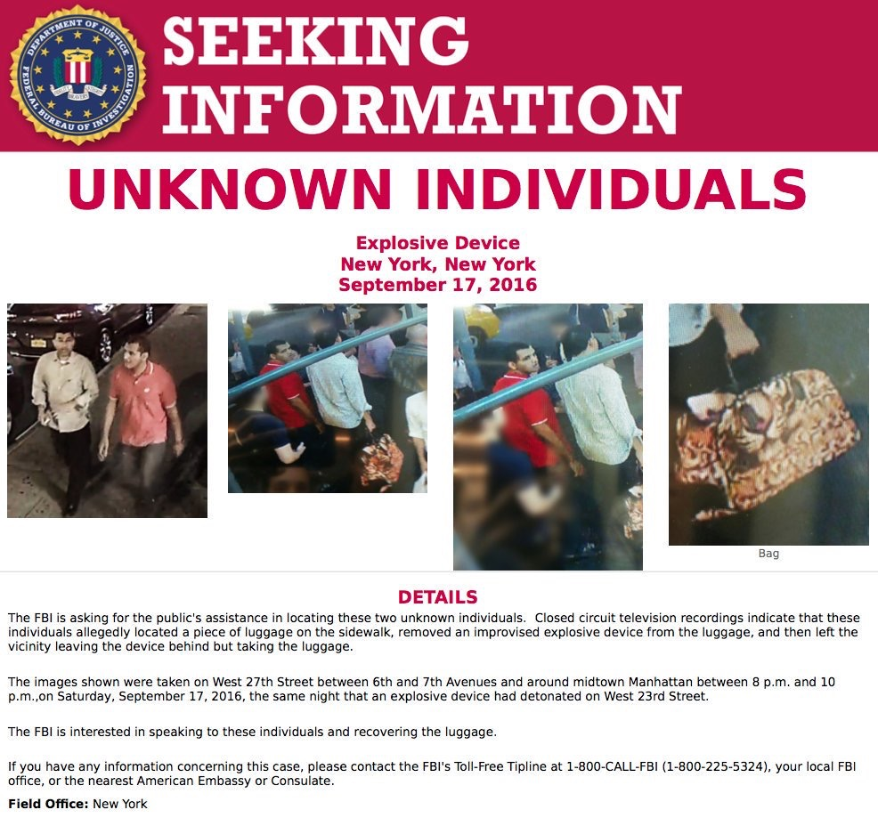FBI Identifies Two Men Who Removed Undetonated Bomb In Manhattan As 'Egyptian Pilots'; They Have Left The United States