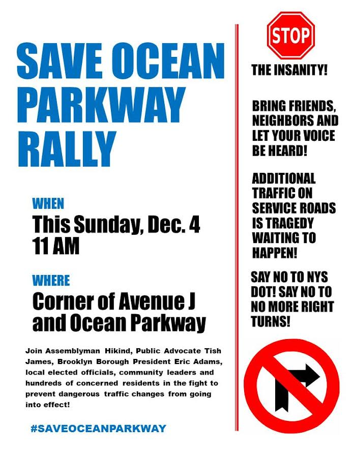 Hikind to Be Joined by Public Advocate Tih James, Comptroller Stringer and Brooklyn BP Adams at Save Ocean Parkway Rally