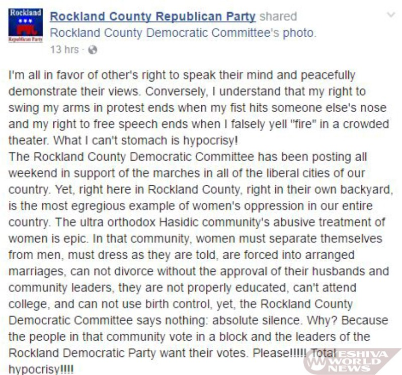 SEE THIS: Official Rockland County GOP Facebook Page Slams 'Hasidic Community's Epic Abusive Oppression Of Women'