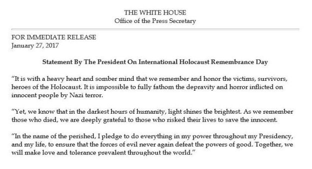 White House Omits Slaughter of Jews in Holocaust Remembrance