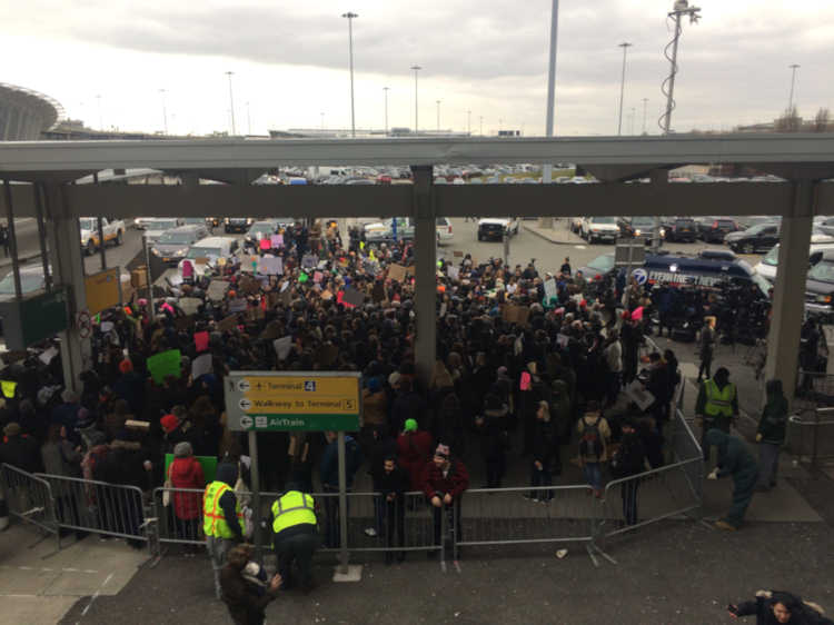 Protest at JFK airport after detentions of immigrants