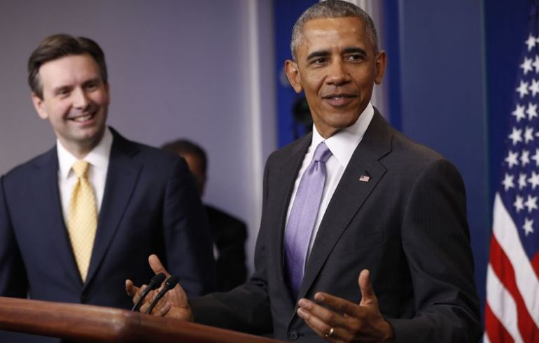 VIDEO: Obama Makes Surprise Visit To Praise Outgoing Press Secretary